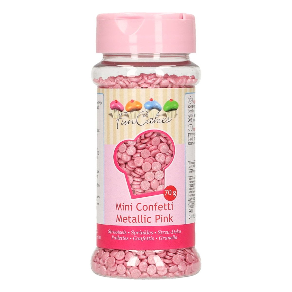 Mini confetti Ružové 4mm 70g, Fun Cakes G42493